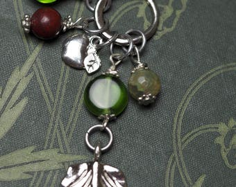 Apple Leaf, Apple and Gemstone Ogham Pendant - The Isle of Avalon, Fertility - Pagan, Wicca, Witchcraft
