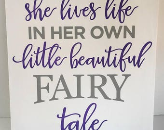 She lives life in her own little beautiful fairy tale painting, handpainted, kid room decor