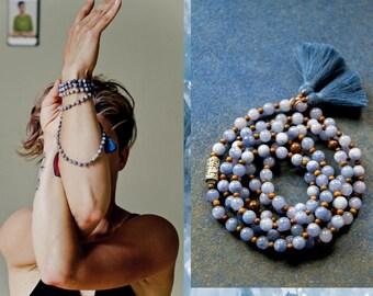 ASHTAMANGALA  Angelite stretch Mala Beads / Angelite and Wood necklace / Mantra Om and Ashtamangala  symbols / tassel meditation Yoga