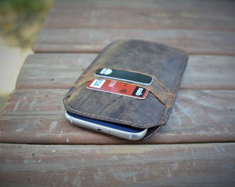 Handmade Real Leather Smart Phone Pouch For iPhone 6