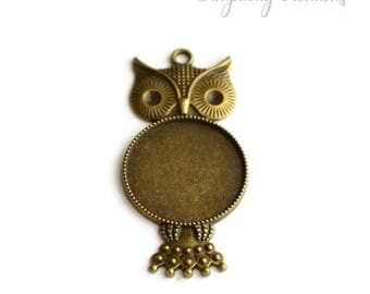 Large pendant OWL support cabochon 57mm