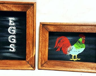 2   5x7 Country Signs, Rooster and Eggs Sign, Rustic Country Signs,