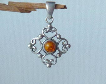 Sterling Silver Gold Amber Pendant Vintage Amber Pendant Orange Baltic Amber Jewelry, Retro Pendant, Modern Honey Amber Jewelry From 70's