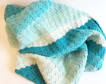Blue baby blanket, crocheted blanket, crochet gift, baby boy gift, baby gift, baby gift blanket, green baby blanket, baby shower gift, baby