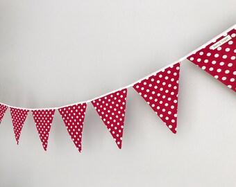 Festive Bunting in Red & White Polka dot with White Satin Binding