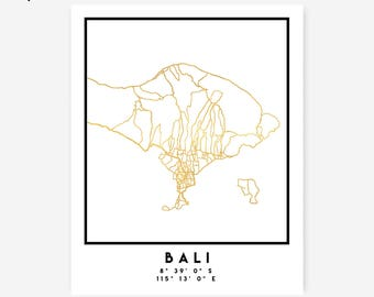 Bali Map Coordinates Print - Indonesia City Street Map Art Poster, Gold Bali Map Print, Bali Indonesia Coordinates Paradise Poster Map Art