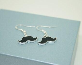 Moustache Earrings, Enamel Earrings, Movember, Sterling Silver Earrings