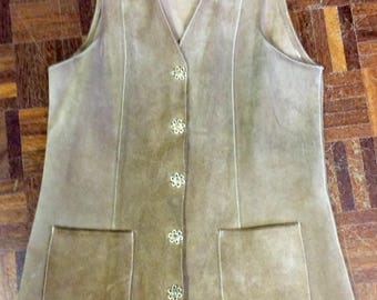 1970s longline beige suede waistcoat UK 10-12