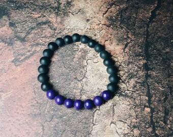 Black Matte Onyx Bracelet, Purple Magnesite Bracelet, Women's Bracelet, Men's Bracelet, 8mm Stone Bracelet, Gemstone Bracelet. Stretch Brace