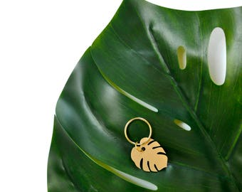 Gold Monstera Leaf Keytag
