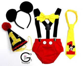Everything Included - Letterman Mickey Mouse 1st Birthday Smash Cake Party Outfit Photo Prop Bow Tie Hat Baby Toddler Boys Bottoms Ears