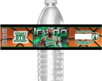 15 Waterproof Basketball Boston Celtics Birthday Party Water Bottle Labels 16.9 oz Water Mini Water Party Favors Kyrie Irving