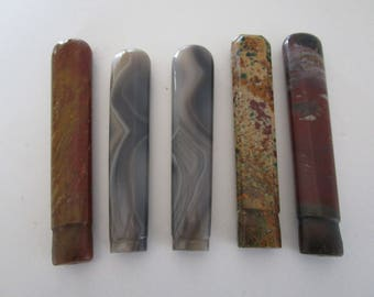 Five Agate Silver Cutlery Handles, Scottish, Antique, Polished, Circa 1850 - 1880, Flatware.