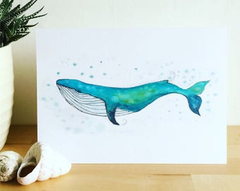 Whale Card, Blue Whale Card, Watercolour Whale Card, Beach Lover Card, Seaside Card, Blank Greetings Card, Under Sea Card, Unique Card