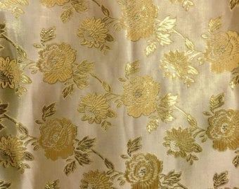 Gold  Metalllic Jaquard Brocade Gold Flower Print