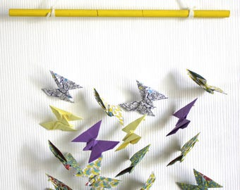 Liberty butterflies, lemon yellow and purple.