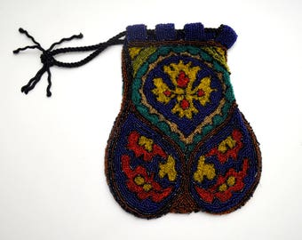 Antique Beaded Reticule Purse, Blue and Gold Microbeaded Drawstring Bag with Cross Design, Edwardian Handbag, AS IS, circa early 1900s