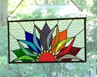Stained Glass Panel; Sun; Sunrise; Sunset; Rainbow ; Colorful; Suncatcher; Stained Glass Window; Suncatcher; Stained Glass Art; Gifts