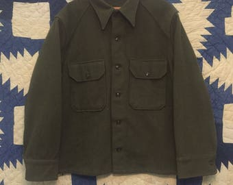 Vintage 1950s US Military Heavy Wool Shirt Mens Size XL