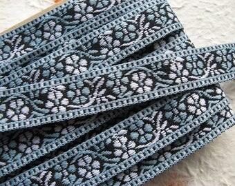 "Jacquard ribbon trim - woven ribbon trim - embroidered Jacquard 0.8"" (20mm) wide powder blue, black, white trim"
