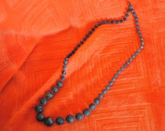Dark Blue with White Accents Graduated One Strand Vintagee Beads