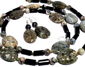 Earth colors long necklace earrings set. Natural gemstone. Beaded. Petrified wood, onyx, fossil and picture jasper. Gift from Seattle and WA