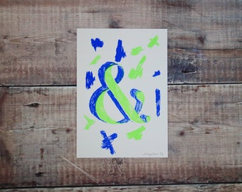 Lime Green & Blue Ampersand A5 Print - Screen Print - Illustration - Wall Art - Decorative Print