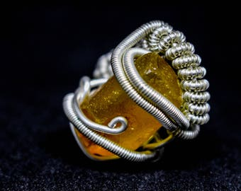 Silver plated wire wrapped unpolished, natural baltic amber ring