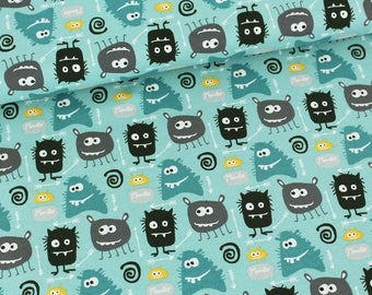 Organic Jersey: Monsters turquoise (50cm x 170cm)