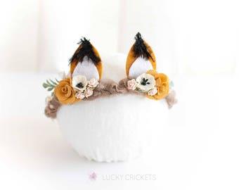 Fox Headband, Woodland Headband, Baby Fox Outfit, Baby Fox Headband, Fox Photo Prop, Fox Baby Prop, Fox Flower Halo, Fox Flower Crown