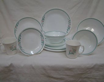Corelle Corning~Rosemarie~21 Pc Dinnerware Dinner Salad Plates Bowls Cups Mint++