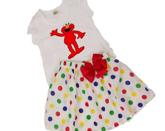 Girl Elmol birthday outfit Toddler Elmo outfit  Girl Elmo name age outfit girl  birthday outfit baby Elmo outfit toddler Elmo name age dress