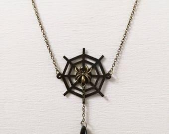 Spider necklace, spider web pendant, gothic jewelry, gothic necklace, spider gothic, victorian, spider web jewelry, spider web necklace