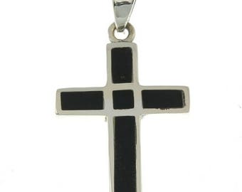 Christian Cross Pendant in Black Color + 925 Silver Necklace
