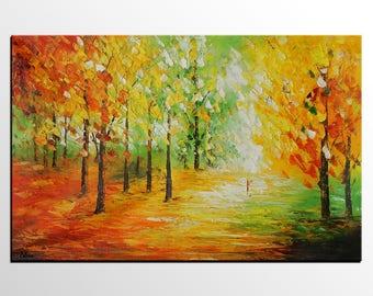 Landscape Painting, Large Art, Canvas Art, Original Painting, Wall Art, Oil Painting, Abstract Art, Living Room Art, Autumn Tree Painting