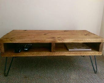 Rustic Vintage Handmade Coffee Table made from Reclaimed Scaffolding Boards with Steel Hairpin legs Real Wood Any Colour