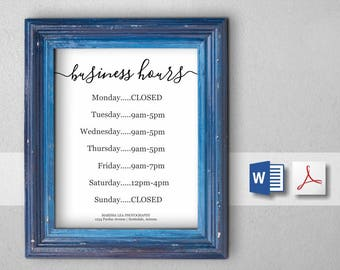 Printable Business Hours Template - Holiday Hours Sign / Print - PDF & Word - DIY Instant Download Digital File - 8x10 8.5x11