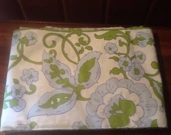 """NOS, Vintage, Retro, 100% Cotton, Steven's UTICA, Twin Flat Sheet, 72"""" x 108"""" before hemming, Combed Percale, light blue, avocado green"""