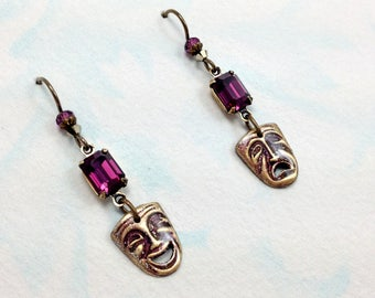 Theatrical Comedy & Tragedy Mask Earrings with Swarovski Amethyst Rhinestones and Niobium Earwires