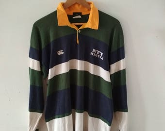 Rare Vintage CANTERBURY Rugby Ling Sleeve Polo Tshirt Size L
