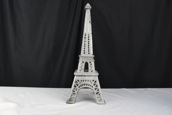 "Vintage 14"" Cast Iron Model of Eiffel Tower Original Silver Paint"