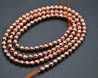 Free Shipping 1strand Faceted Hematite Rose Gold color Electroplating Round Loose Beads 2mm~12mm