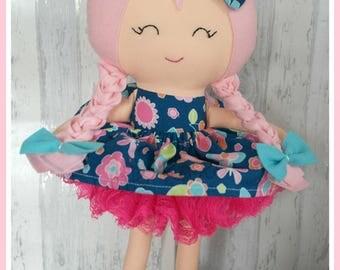 18 inch Pink Plaits Handmade Doll