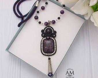 Dark Purple Boho Necklace Long Amethyst Gemstone Necklace Beaded Soutache Jewelry Black Bead Necklace