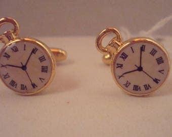 Unusual vintage clock style cufflinks