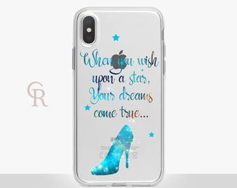Disney Clear Phone Case Phone Case For iPhone 8 iPhone 8 Plus iPhone X Phone 7 Plus iPhone 6 iPhone 6S iPhone SE Samsung S8 Cinderella Quote