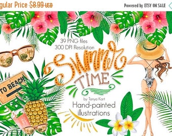 SALE Hawaii Clipart, Summer Time Clipart, Summer Hand-painted clipart, Beach clipart, Tropical flowers, Tropical leaves clipart, Pineapple,