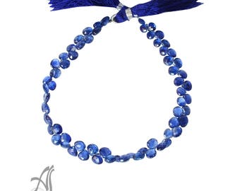 Kyanite FLat Briolette Faceted  4.5 to 5 mm,Blue,  8 inch  AAA Gem Quality , Like  Sapphire, One of a Kind
