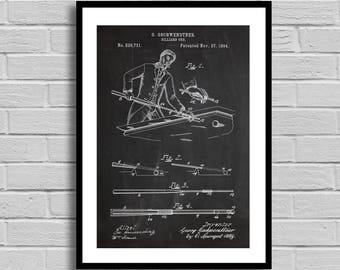 Billiard Cue Patent, Billiard Cue Patent Poster, Billiard Cue Blueprint, Billiard Cue Print,Game Decor, Game Room Decor, Bar Decor, Pool