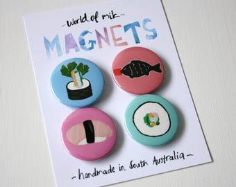 Sushi Magnet Set, Food Fridge Magnets, Sushi Button Magnets, Fun Magnets